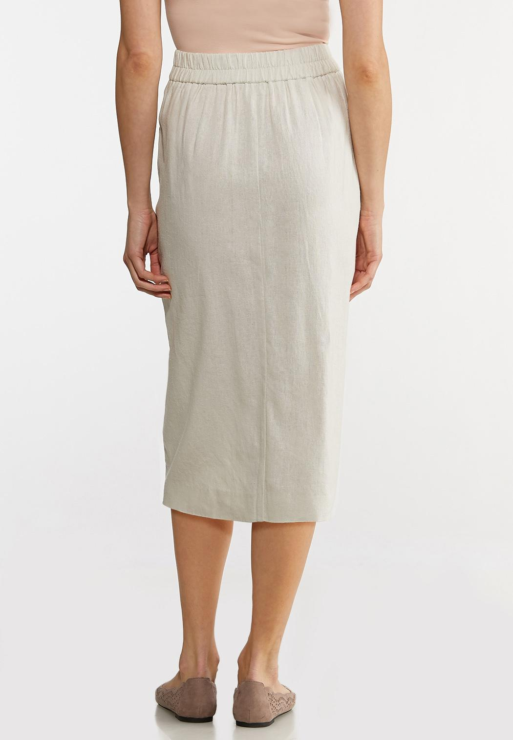 Plus Size Linen Pencil Skirt (Item #44116396)