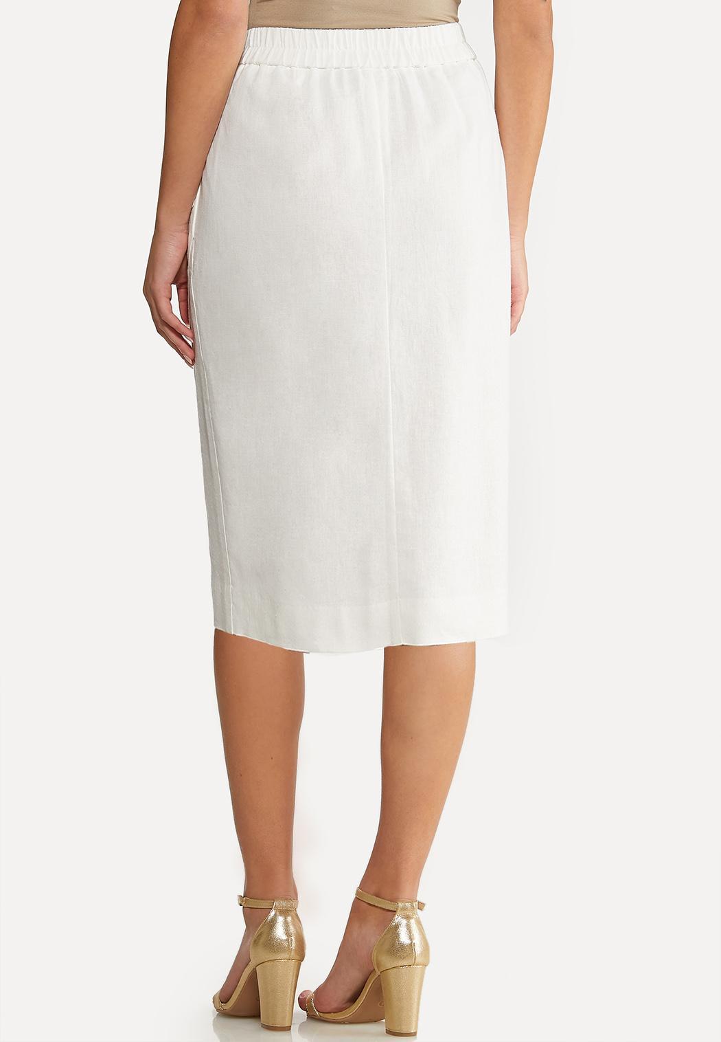 Plus Size Linen Pencil Skirt (Item #44116407)