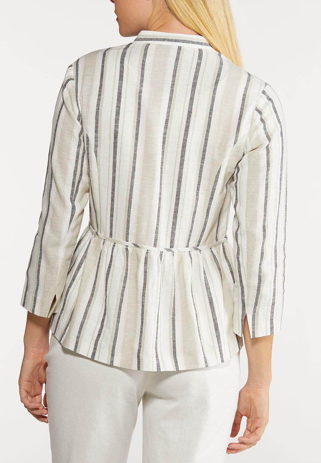Plus Size Stripe Linen Jacket (Item #44116508)