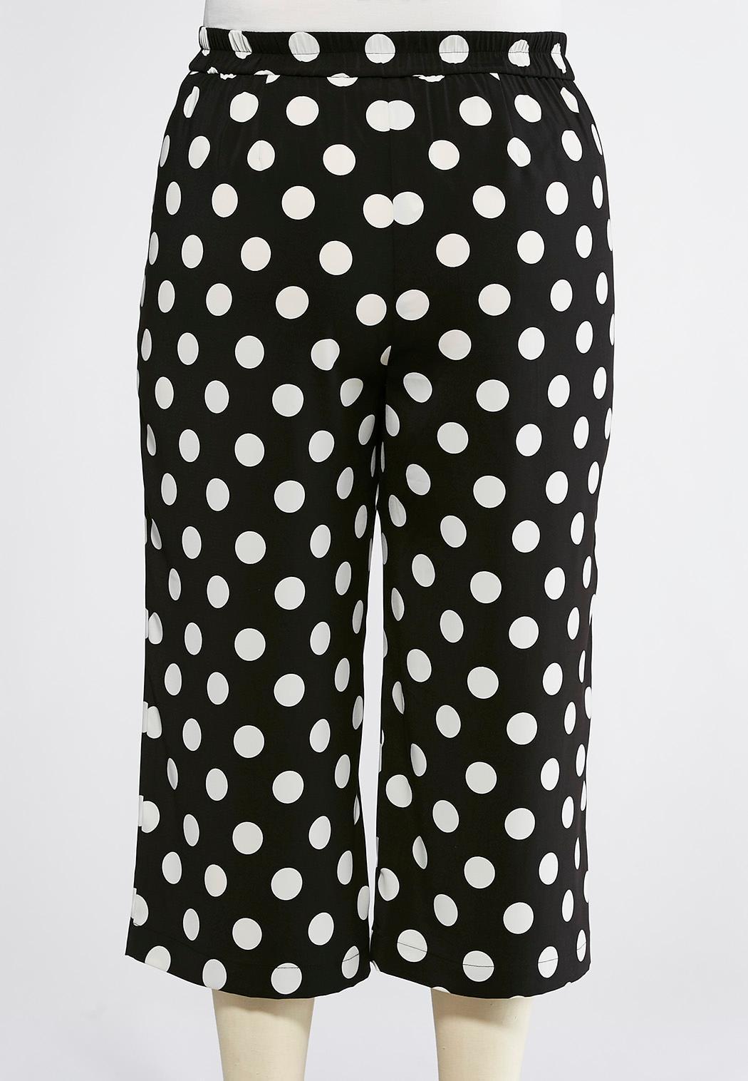 Plus Size Polka Dot Cropped Pants (Item #44116947)