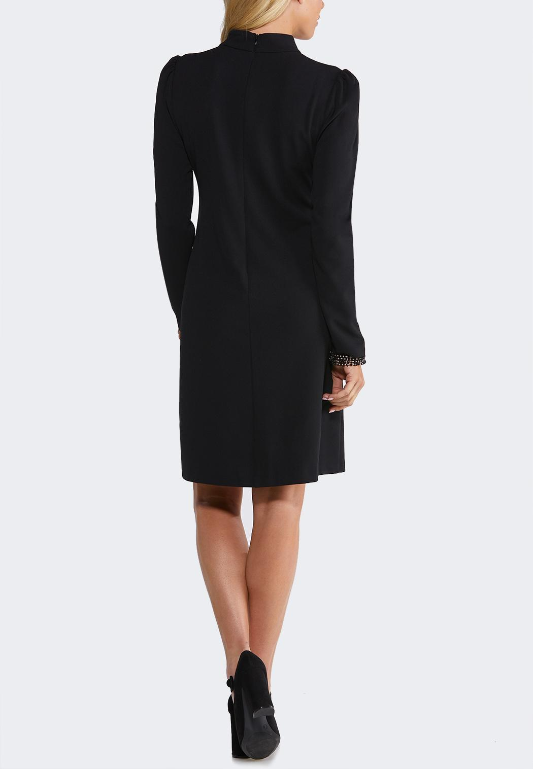 Plus Size Black Puff Shoulder Dress (Item #44117529)