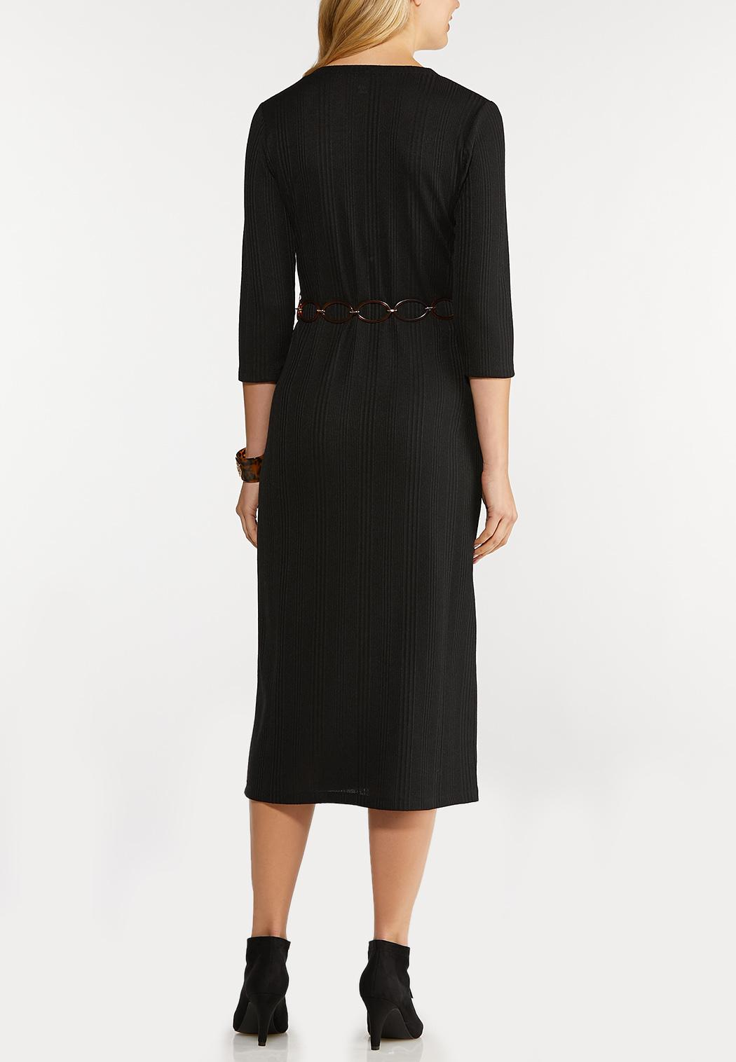 Belted Ribbed Midi Dress (Item #44117567)