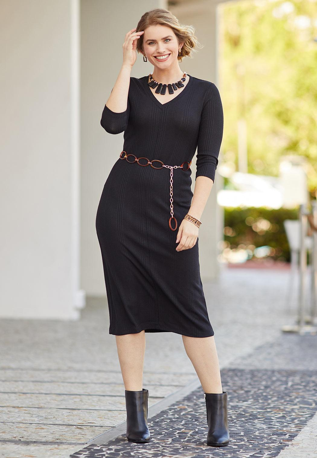 Plus Size Belted Ribbed Midi Dress (Item #44117658)
