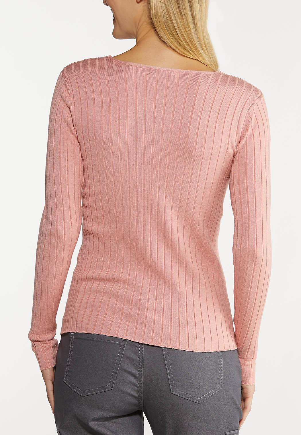 Plus Size Ribbed V-Neck Sweater (Item #44117888)