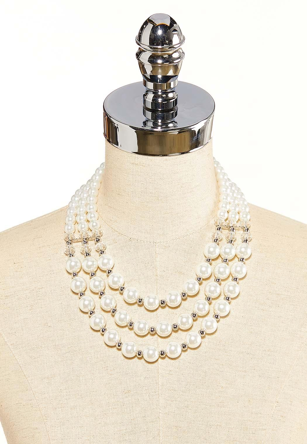 Layered Pearl Rondelle Necklace (Item #44118270)