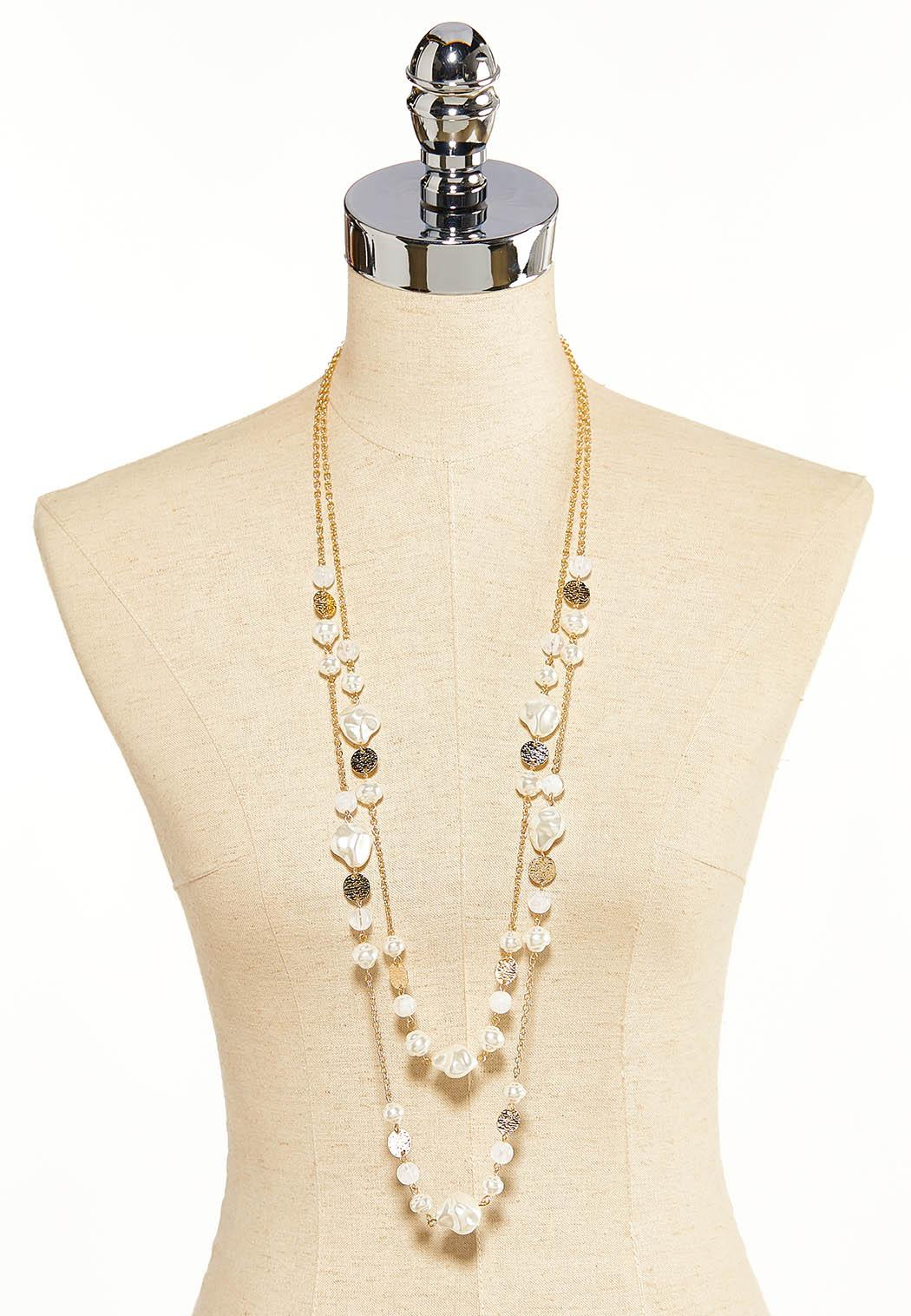 Layered Disc And Pearl Necklace (Item #44118283)