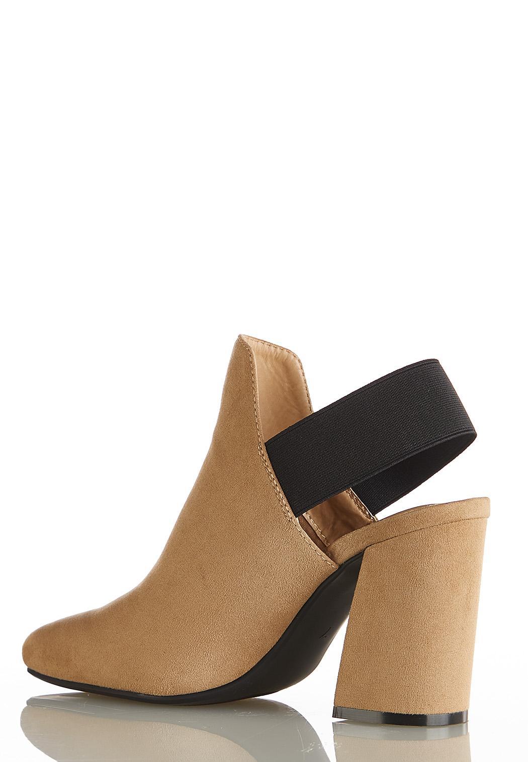 Elastic Strap Heeled Booties (Item #44118592)