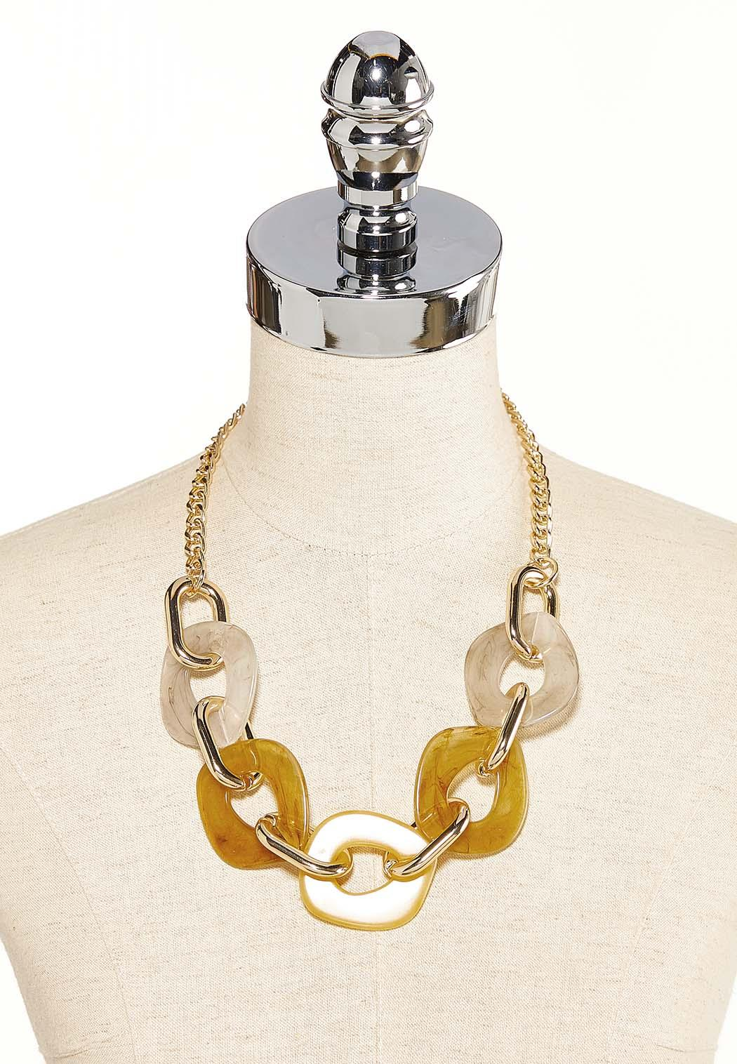 Chunky Lucite And Metal Link Necklace (Item #44119172)