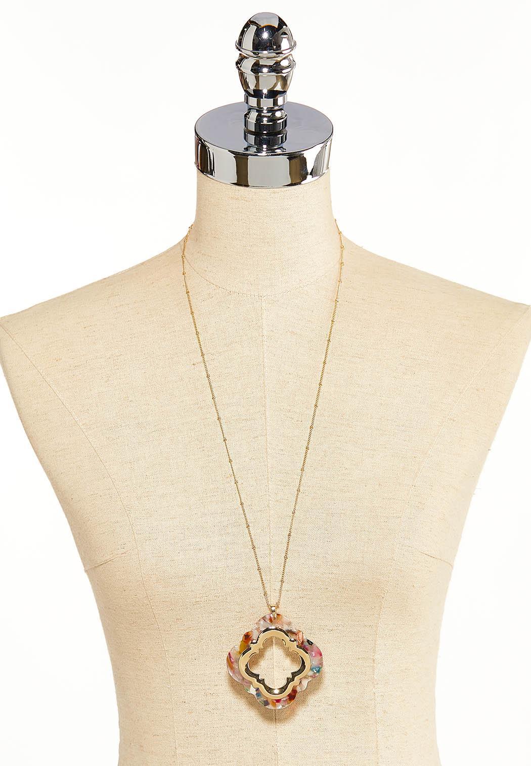 Multi Lucite Moroccan Pendant Necklace (Item #44119308)