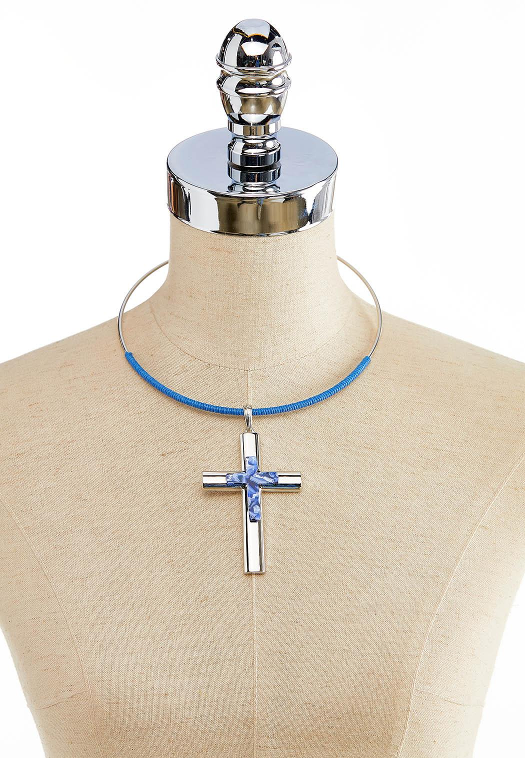 Cross Wire Pendant Necklace (Item #44119441)