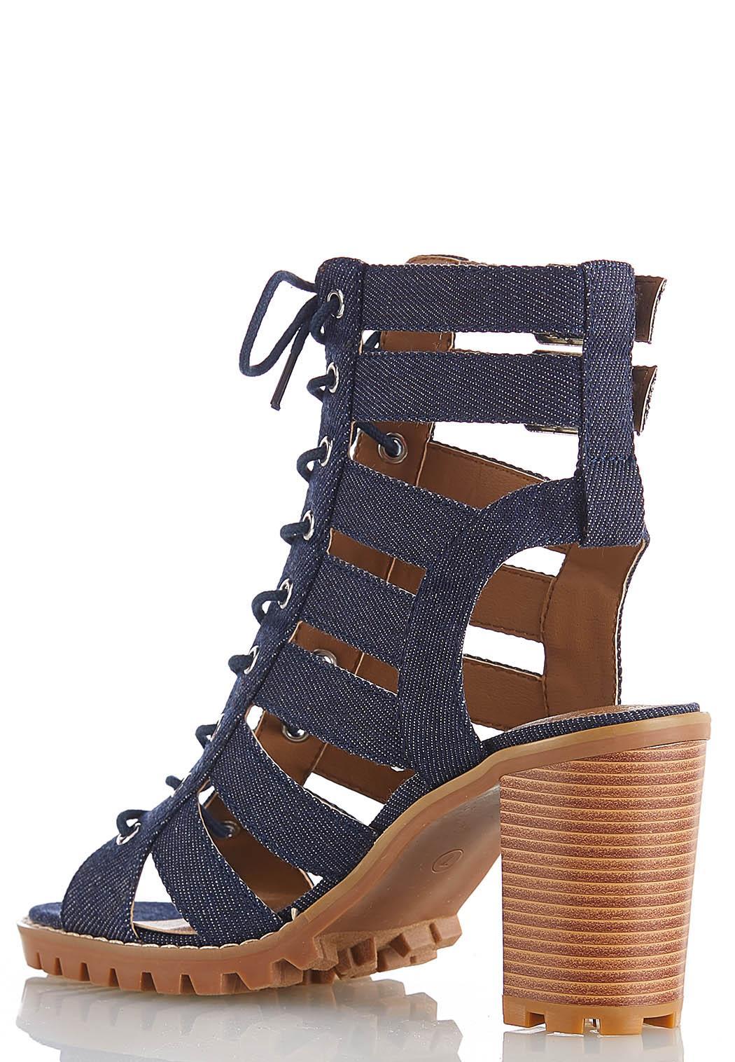 Lace Up Denim Heeled Sandals (Item #44119484)