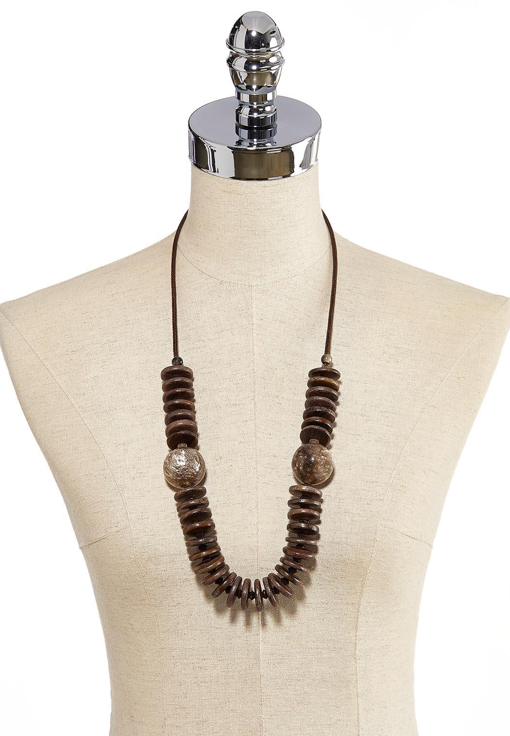 Wood Disc Long Necklace (Item #44121430)
