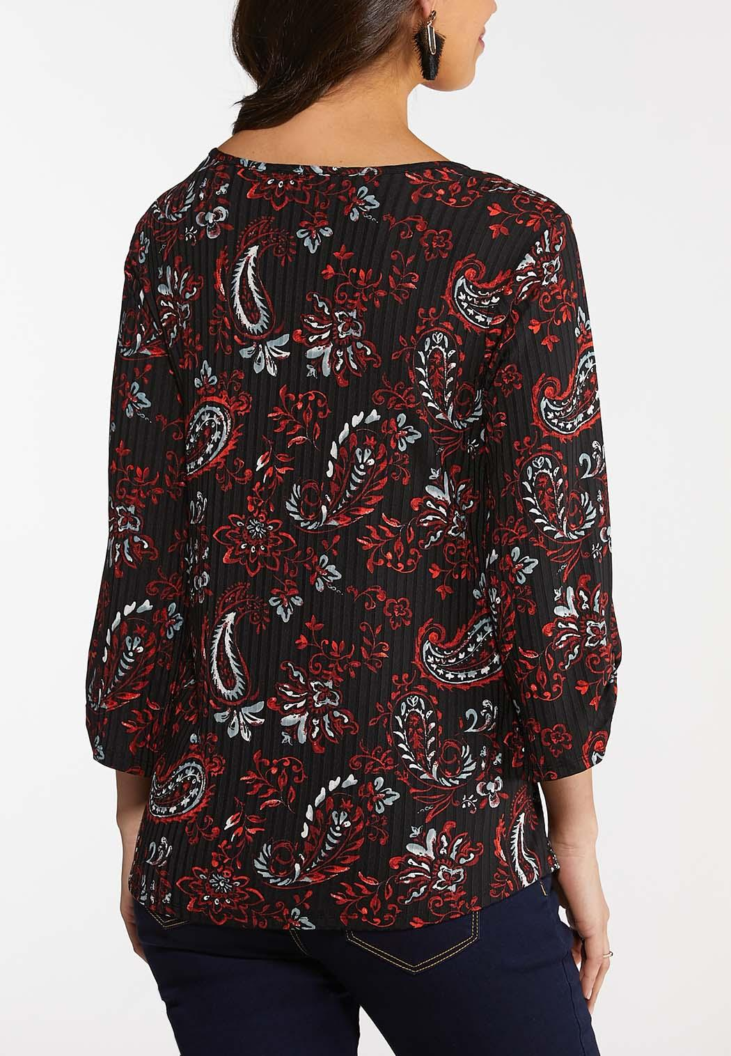 Plus Size Paisley Cinched Top (Item #44121991)