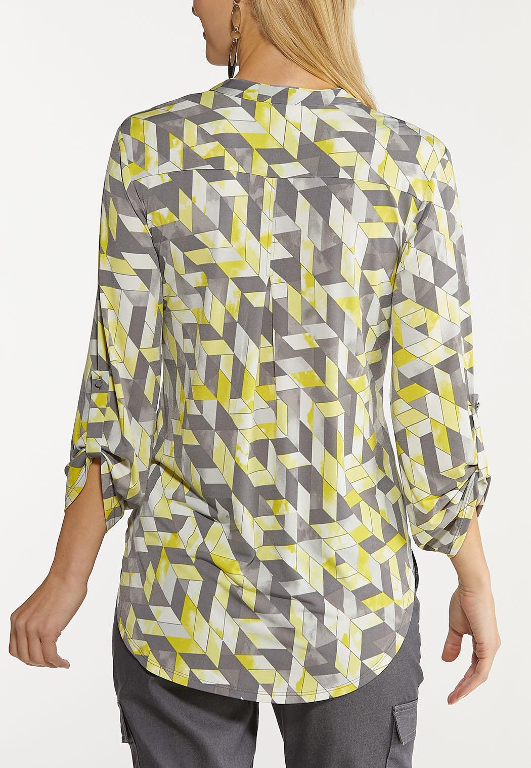 Plus Size Yellow Geo Pullover Top (Item #44122098)