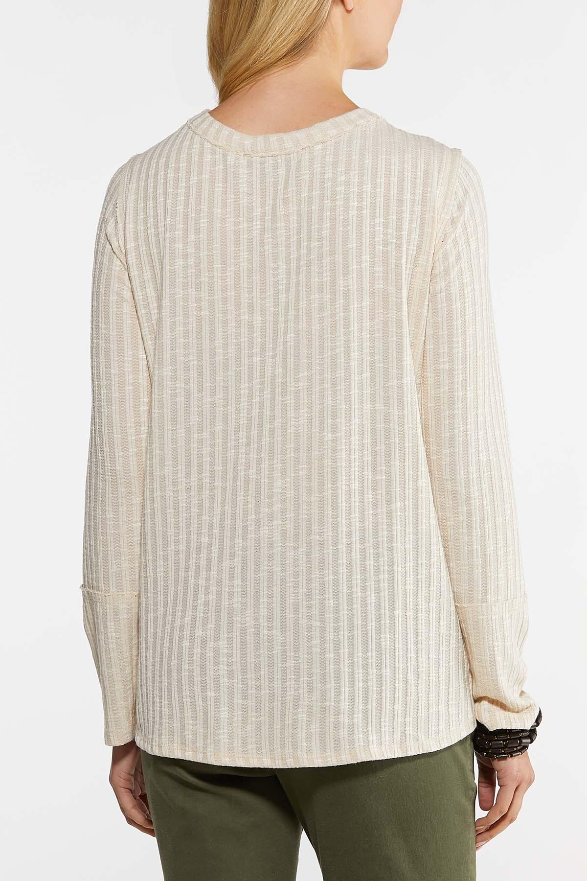 Plus Size Ribbed Button Down Top (Item #44123277)
