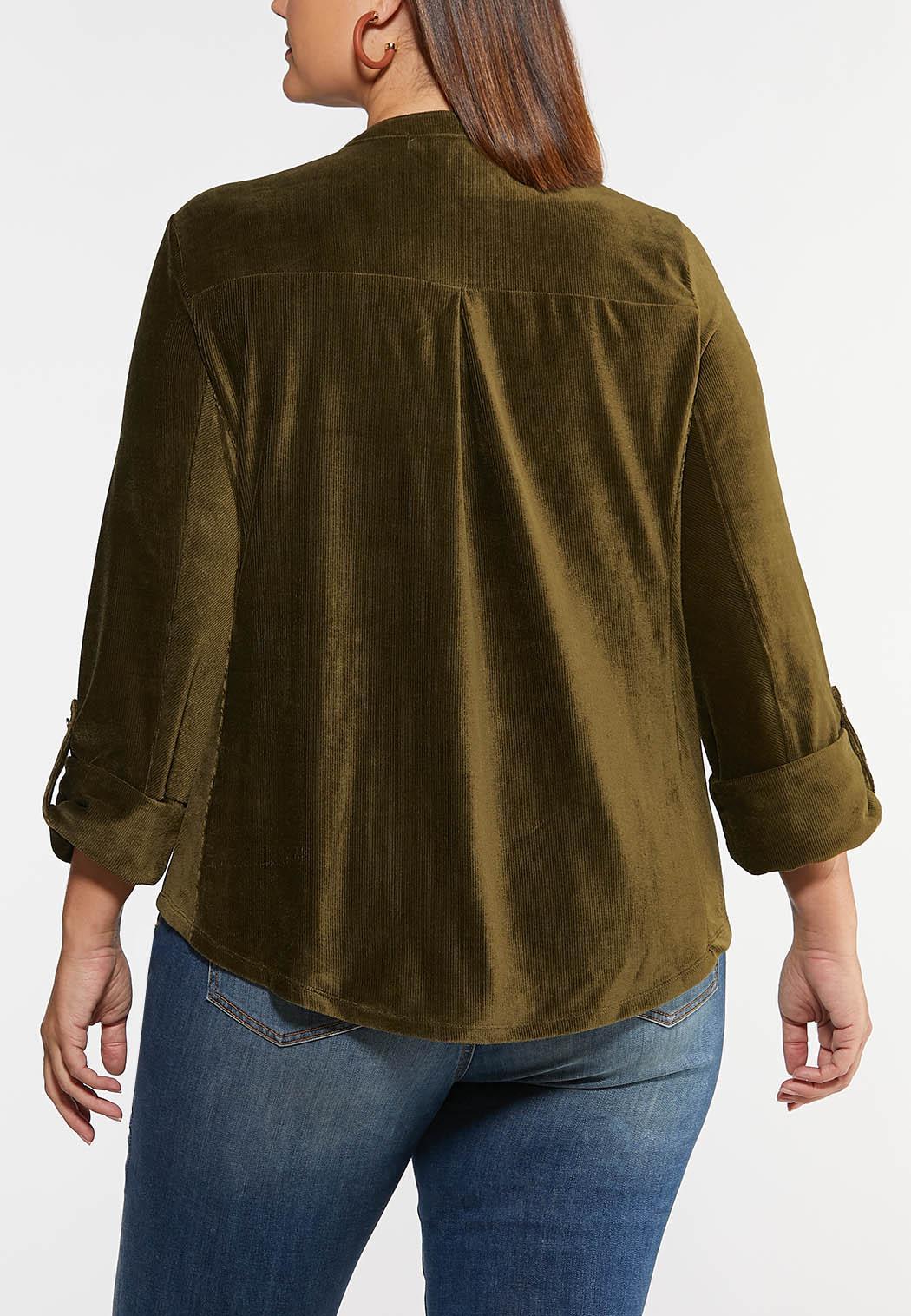 Plus Size Corduroy Button Front Top (Item #44123288)