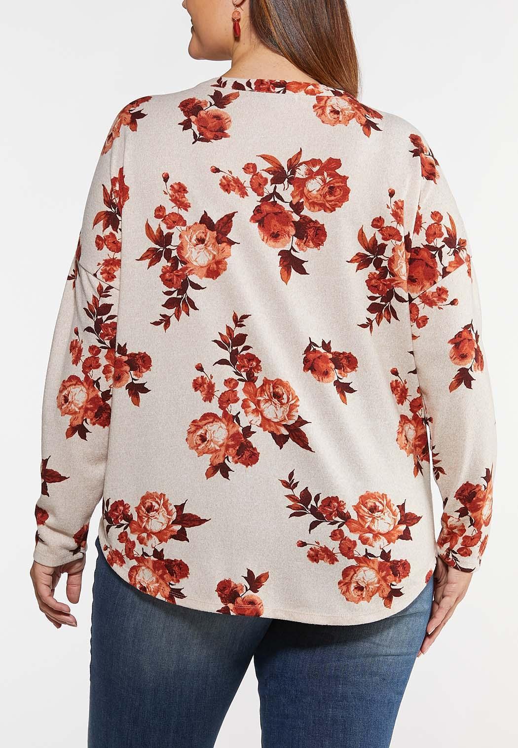 Plus Size Floral Tie Front Top (Item #44123473)