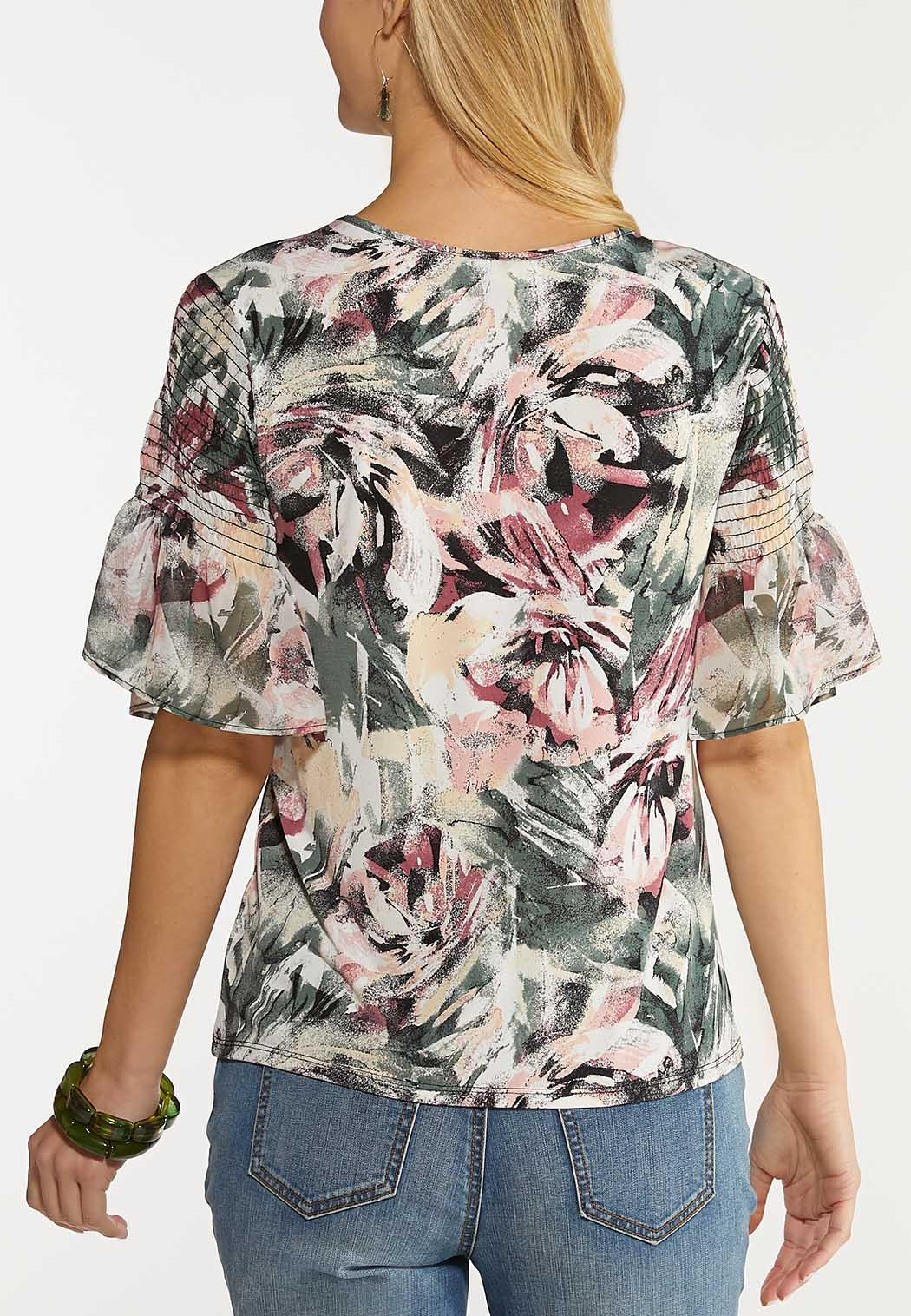 Plus Size Floral Flutter Sleeve Top (Item #44124108)