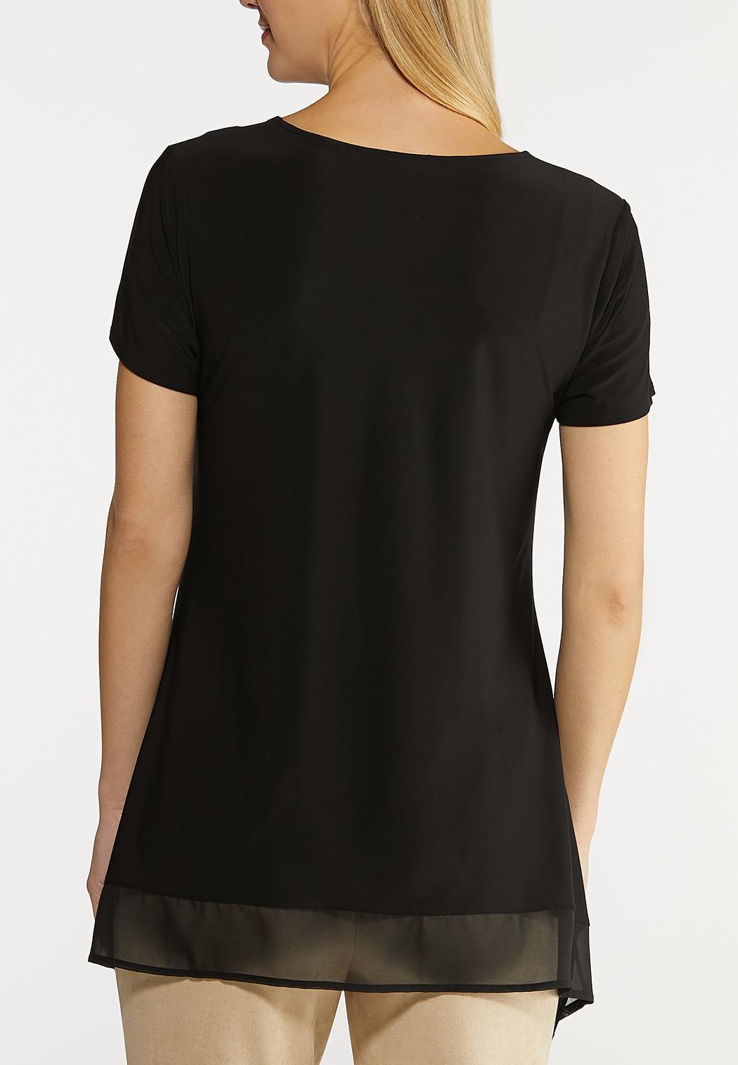 Plus Size Solid Chiffon Hem Top (Item #44124232)