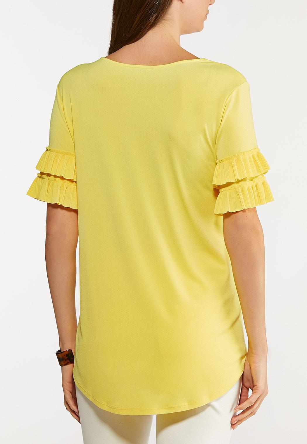 Plus Size Pleated Ruffled Sleeve Top (Item #44124250)