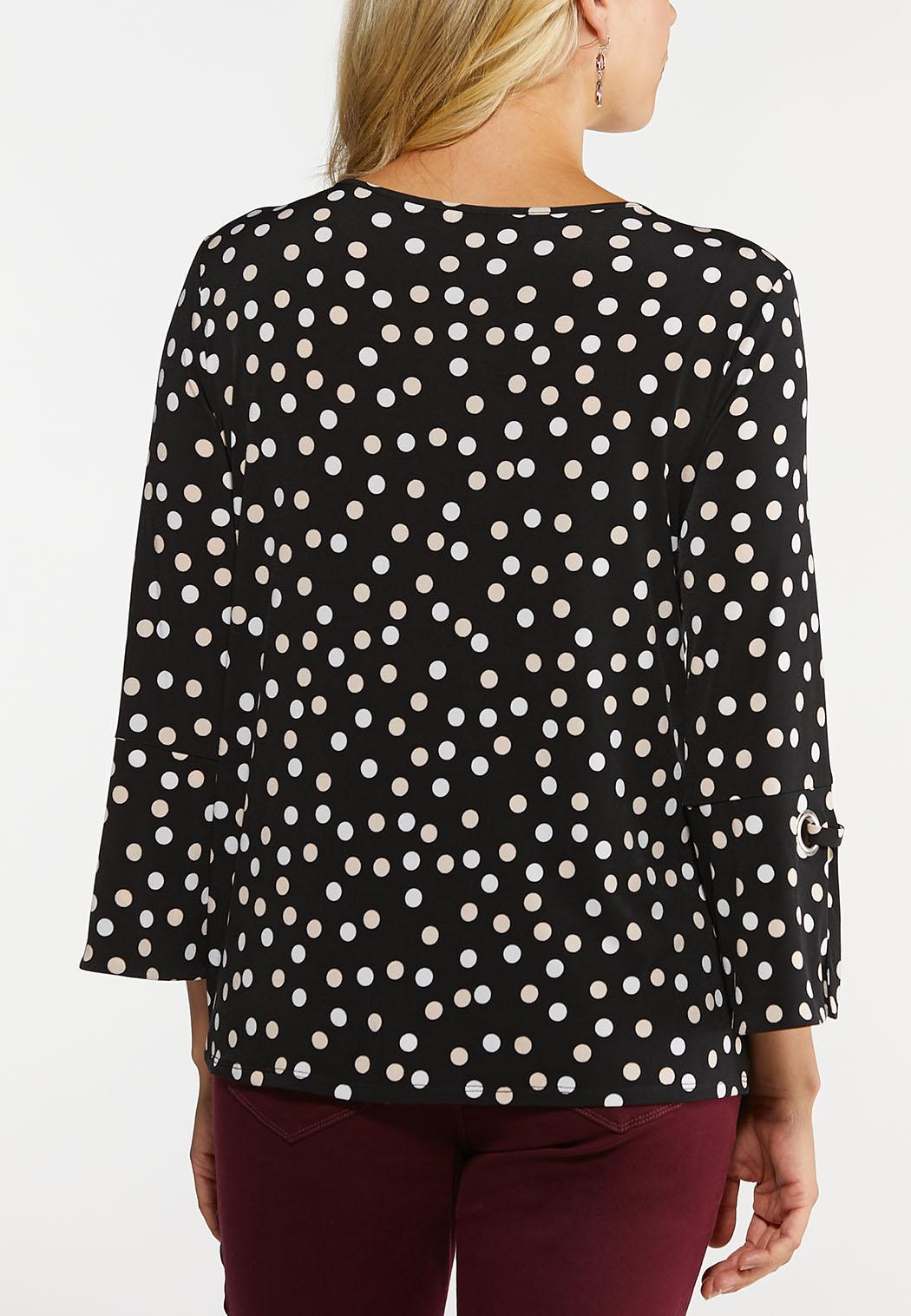 Dotted Flounce Sleeve Top (Item #44124303)