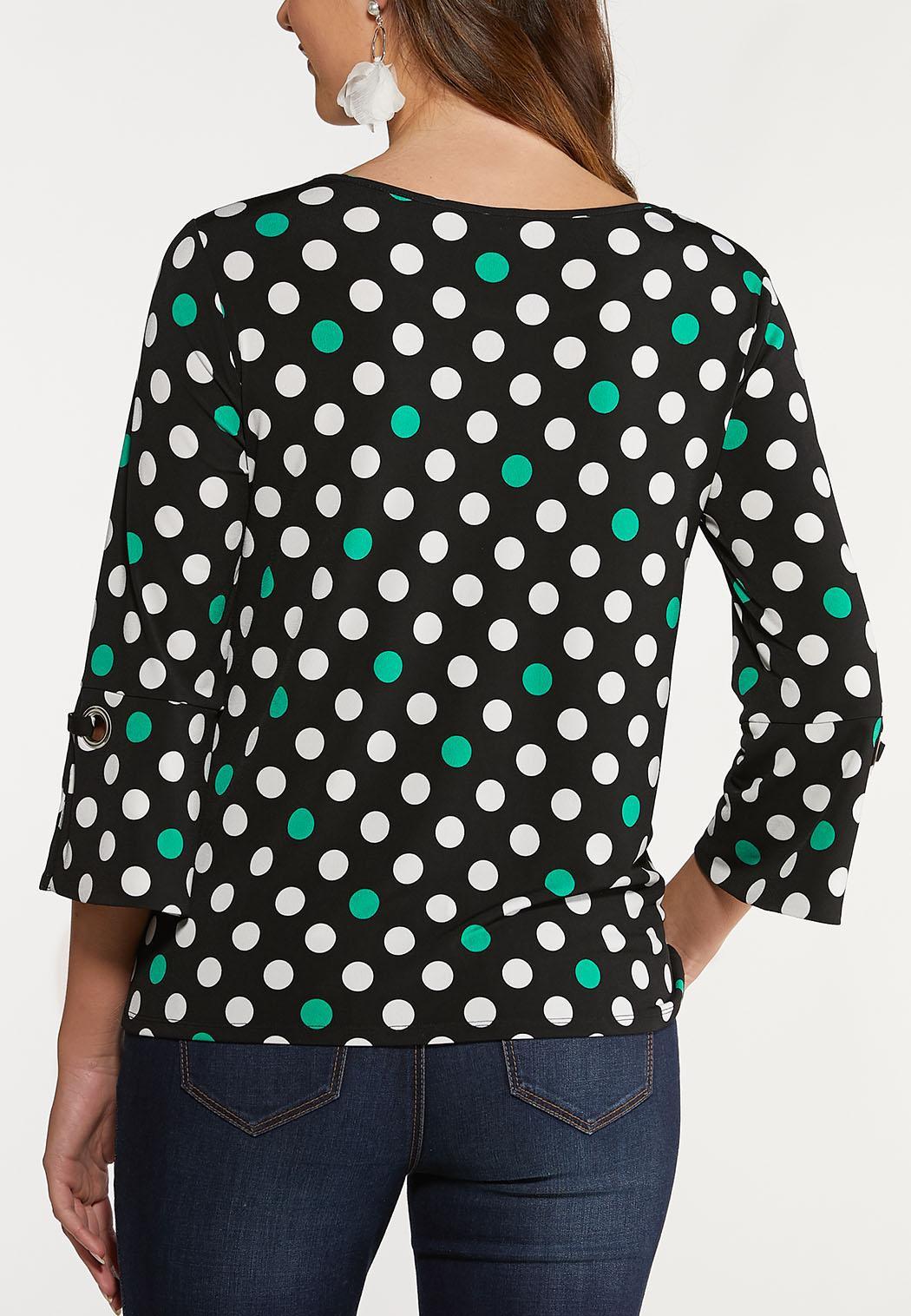 Plus Size Tie Hem Dot Top (Item #44124314)