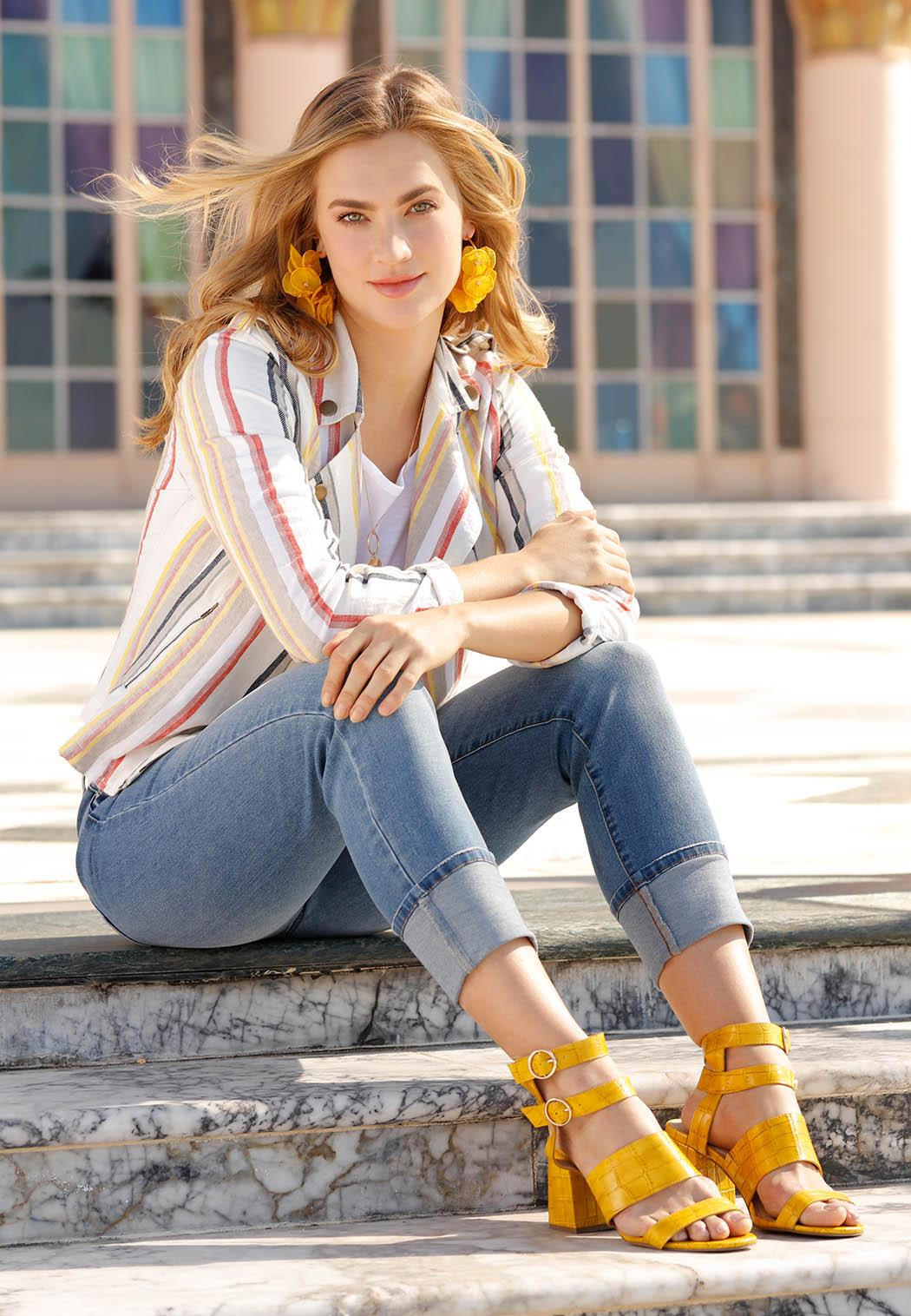 Golden Croc Heeled Sandals (Item #44124370)