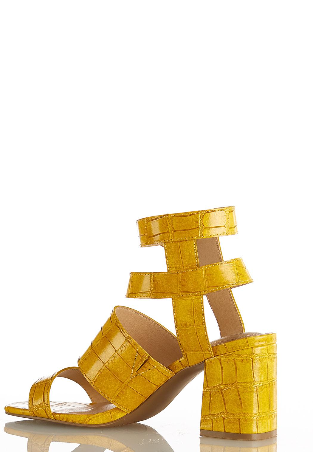 Wide Width Golden Croc Heeled Sandals (Item #44124431)