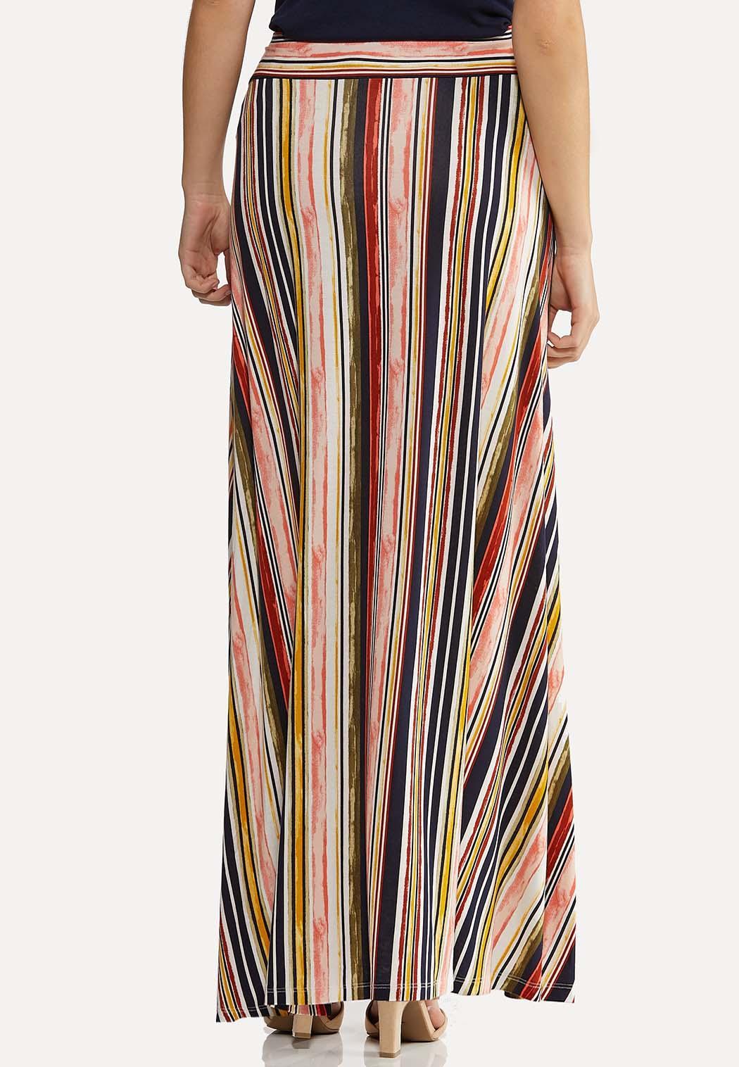 Plus Size Twist Stripe Maxi Skirt (Item #44124710)