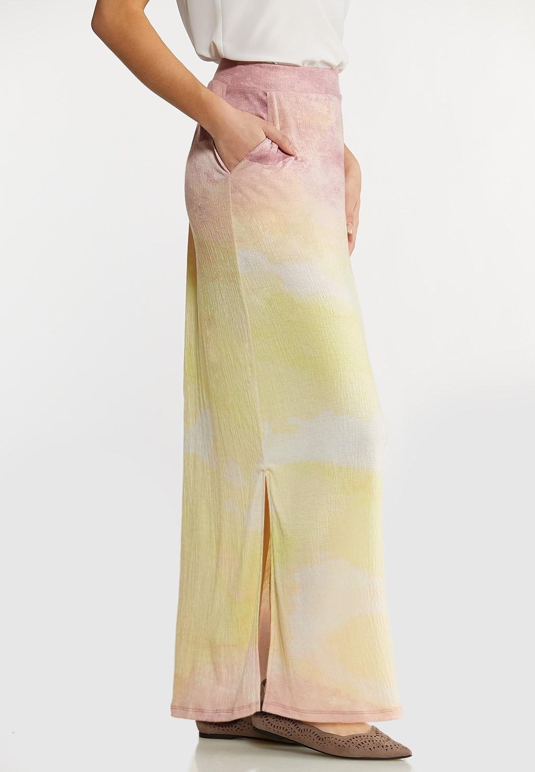 Plus Size Gauze Tie Dye Maxi Skirt (Item #44124821)