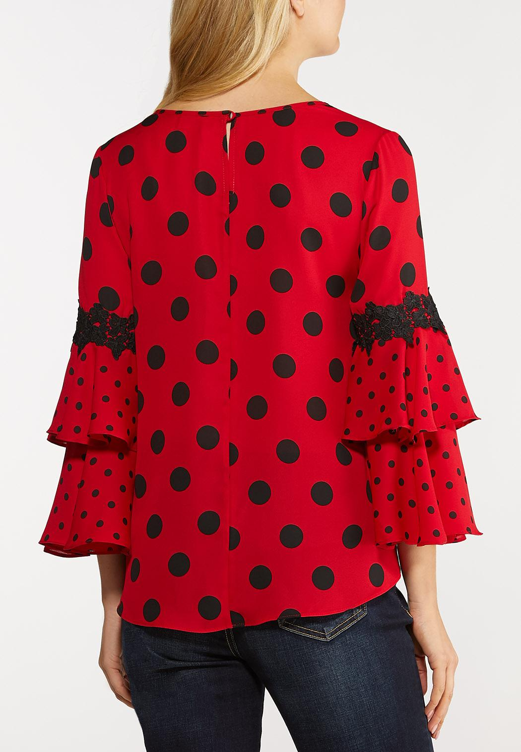 Plus Size Dotted Ruffled Sleeve Top (Item #44124871)