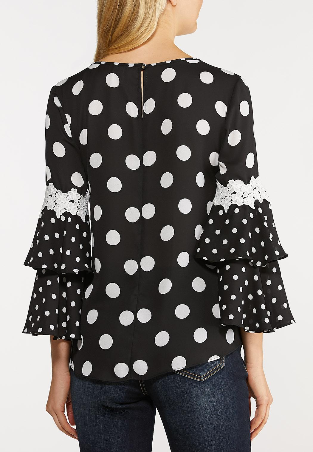 Plus Size Black And White Dotted Top (Item #44124915)