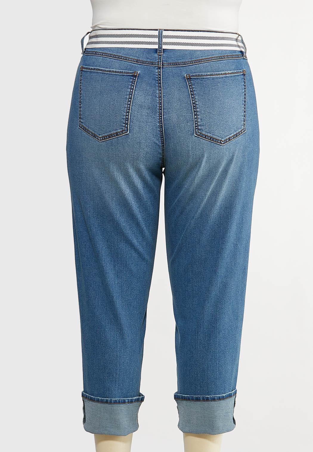 Plus Size Belted Boyfriend Jeans (Item #44125097)