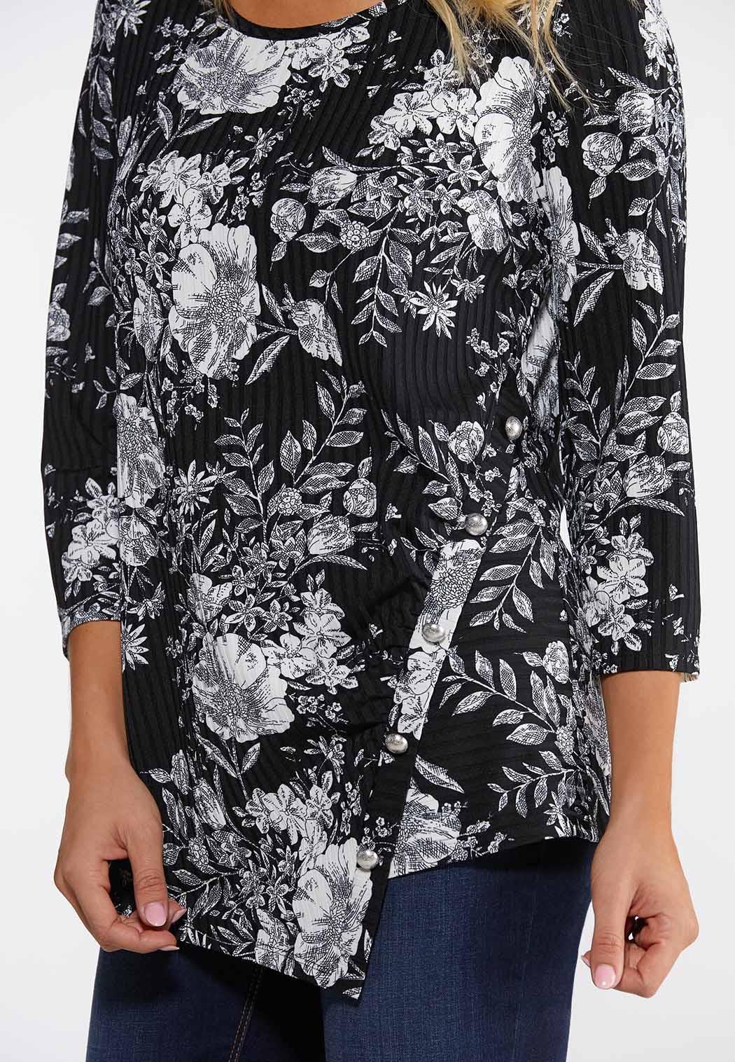 Ribbed Floral Print Top (Item #44125422)