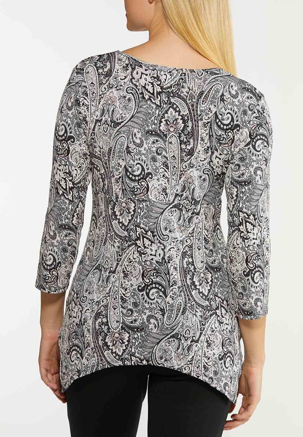 Plus Size Grommet Paisley Top (Item #44125584)