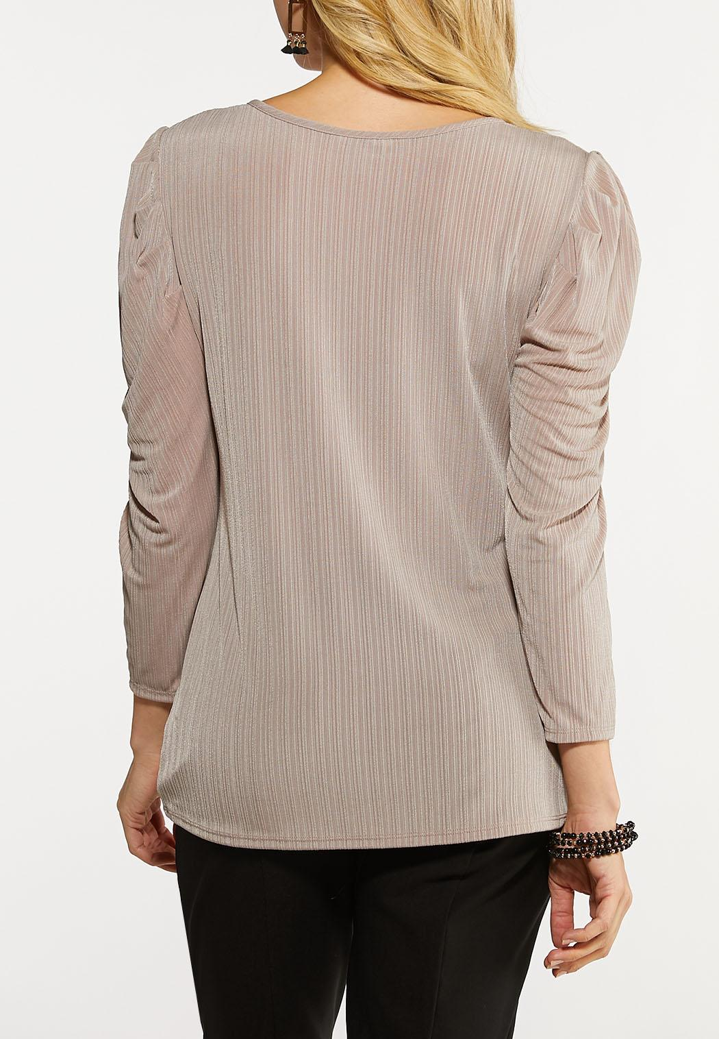 Draped Puff Sleeve Top (Item #44125615)