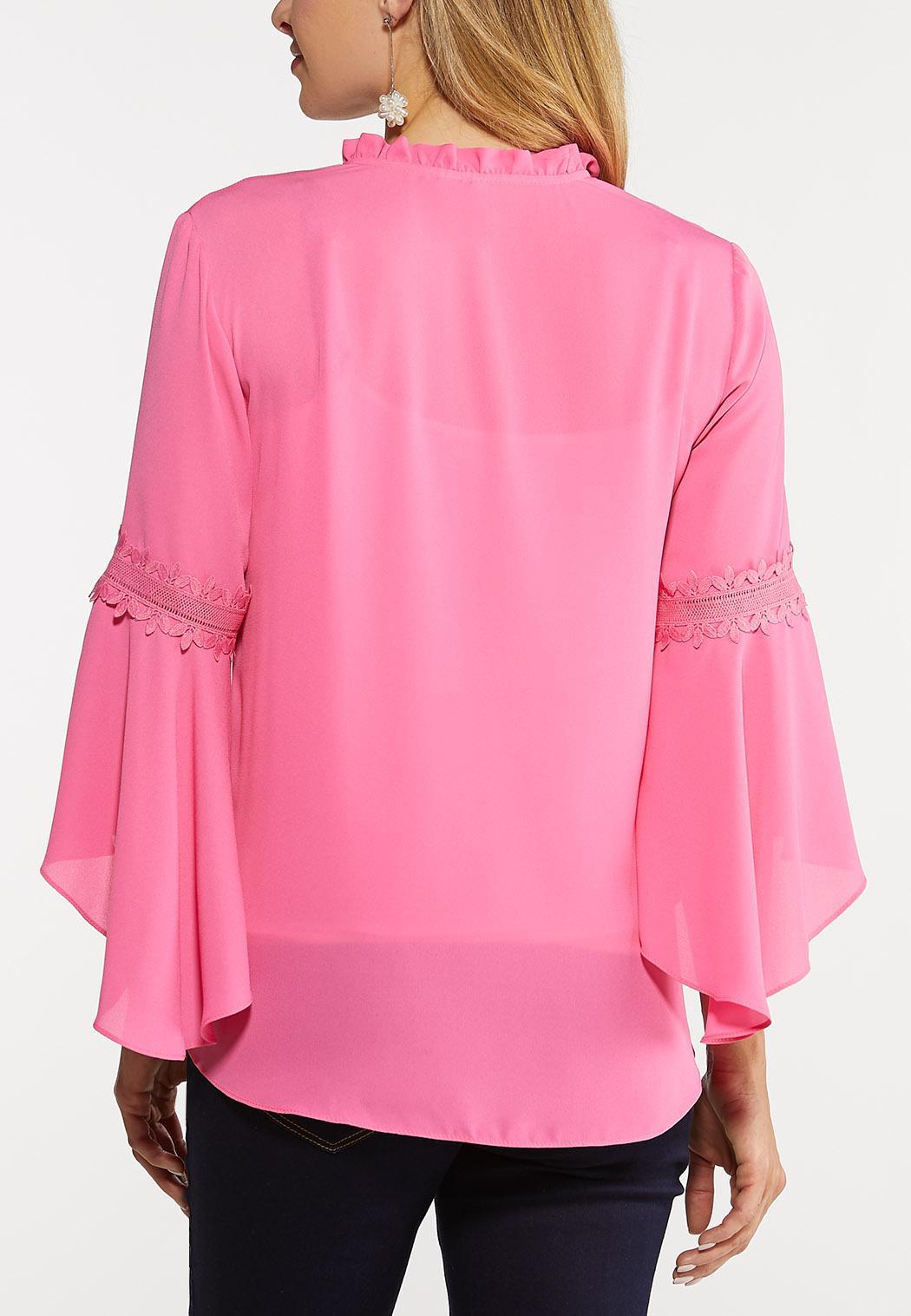 Pink Ruffled Neck Top (Item #44126305)