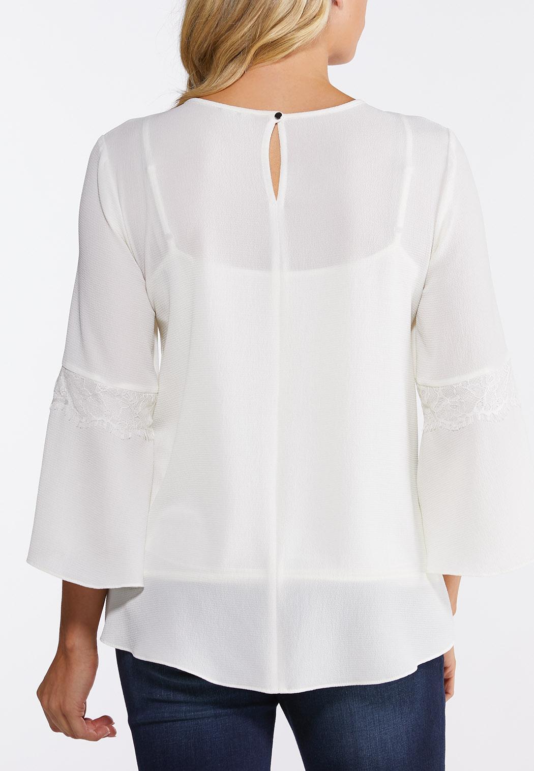Plus Size Ivory Lace Trim Top (Item #44126489)