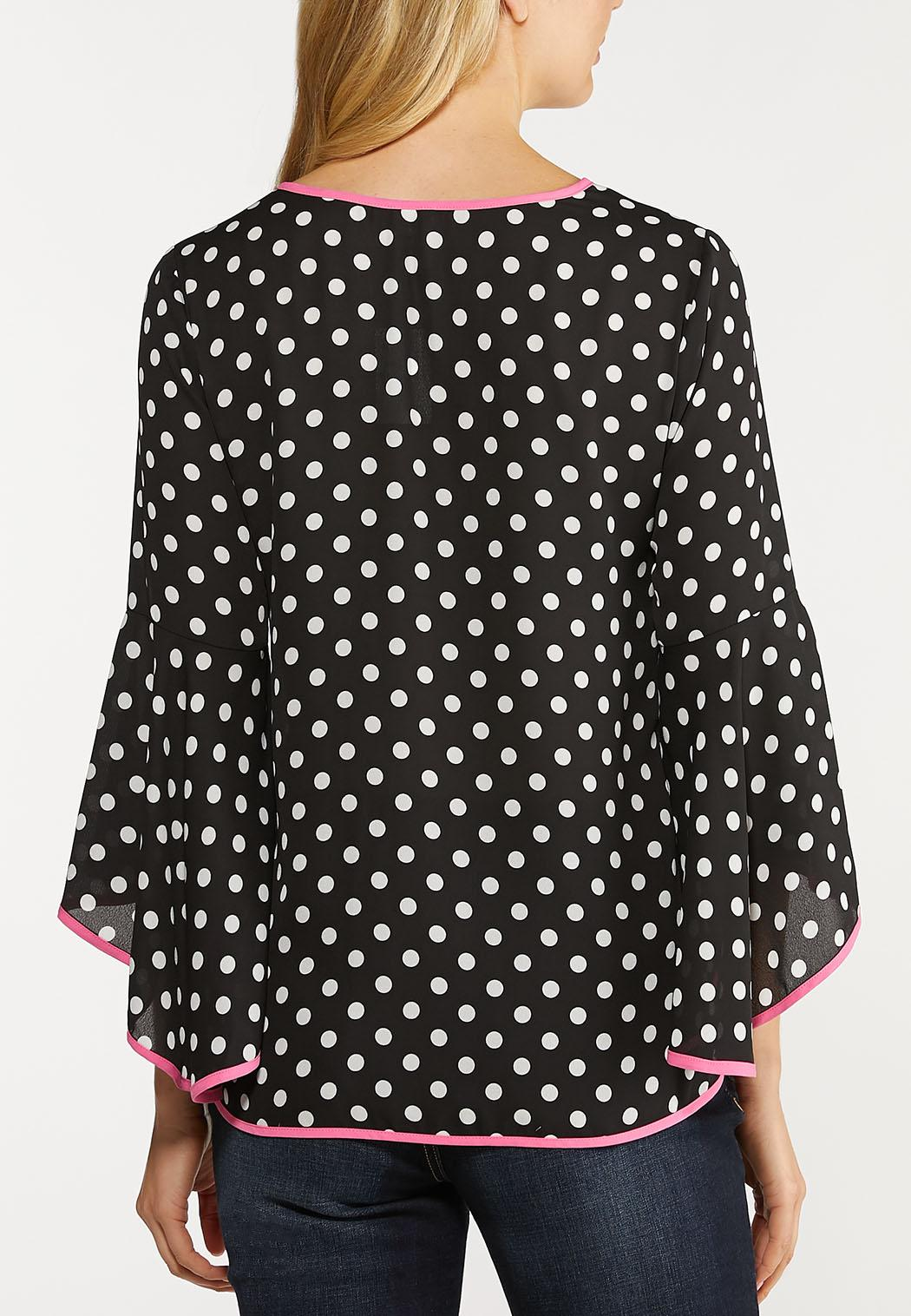 Plus Size Piped Polka Dot Top (Item #44126609)