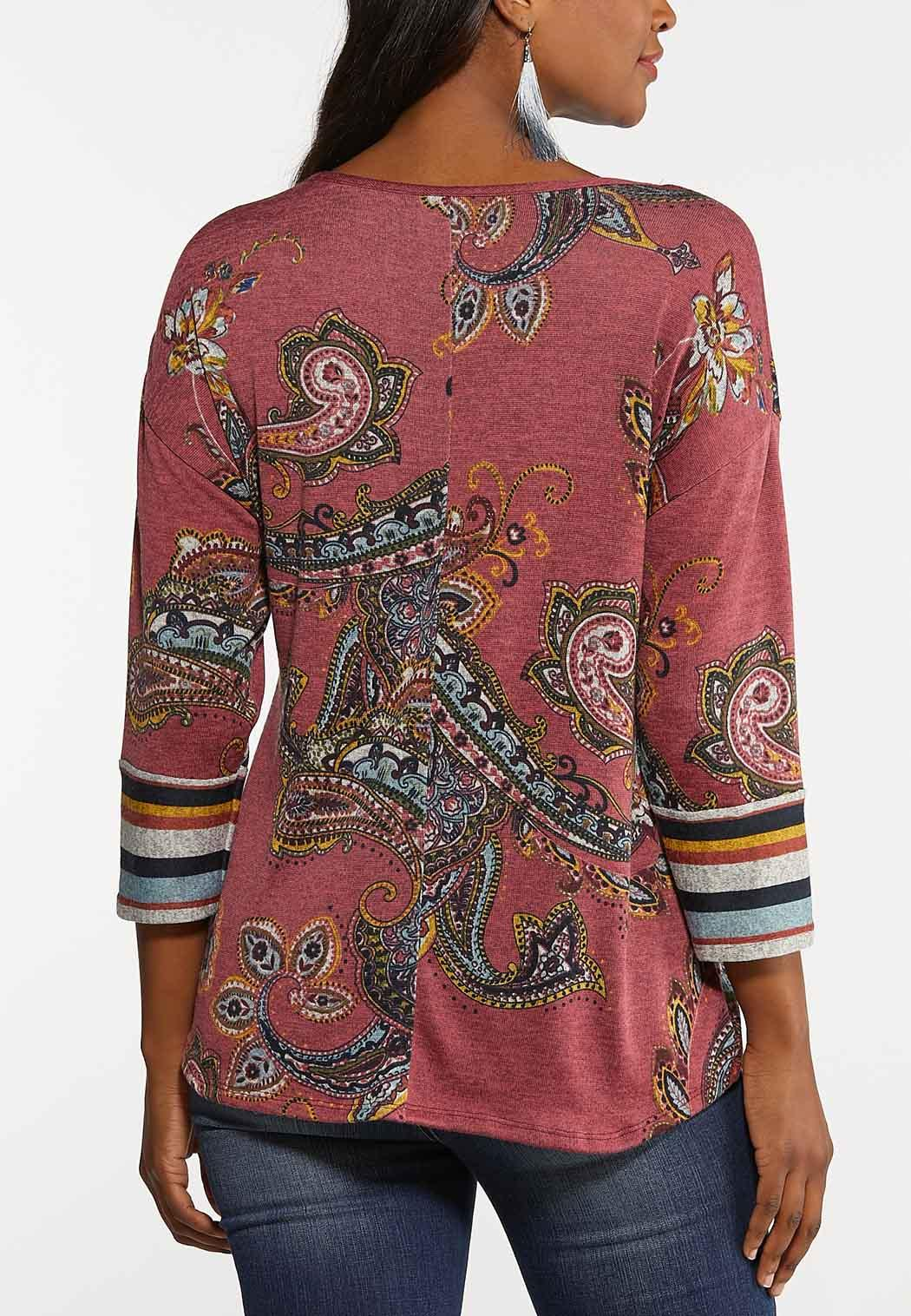 Plus Size Knotted Rose Paisley Top (Item #44127244)