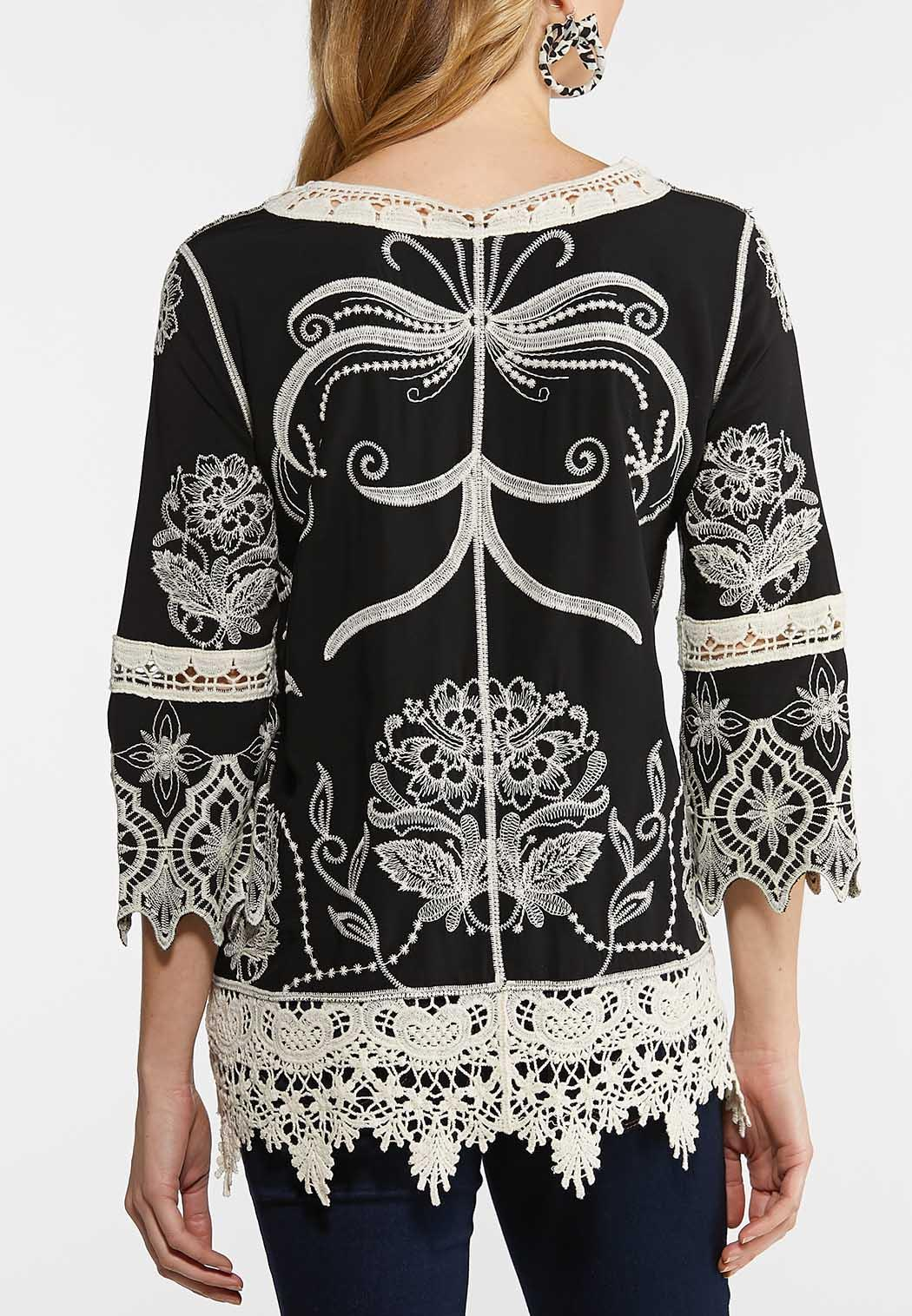 Plus Size Crochet Embroidered Black Top (Item #44127943)