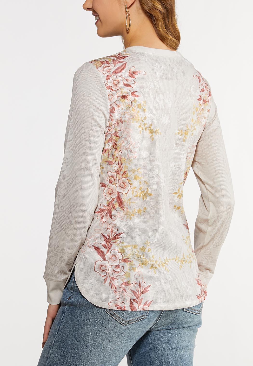 Plus Size Floral Thermal Top (Item #44128569)