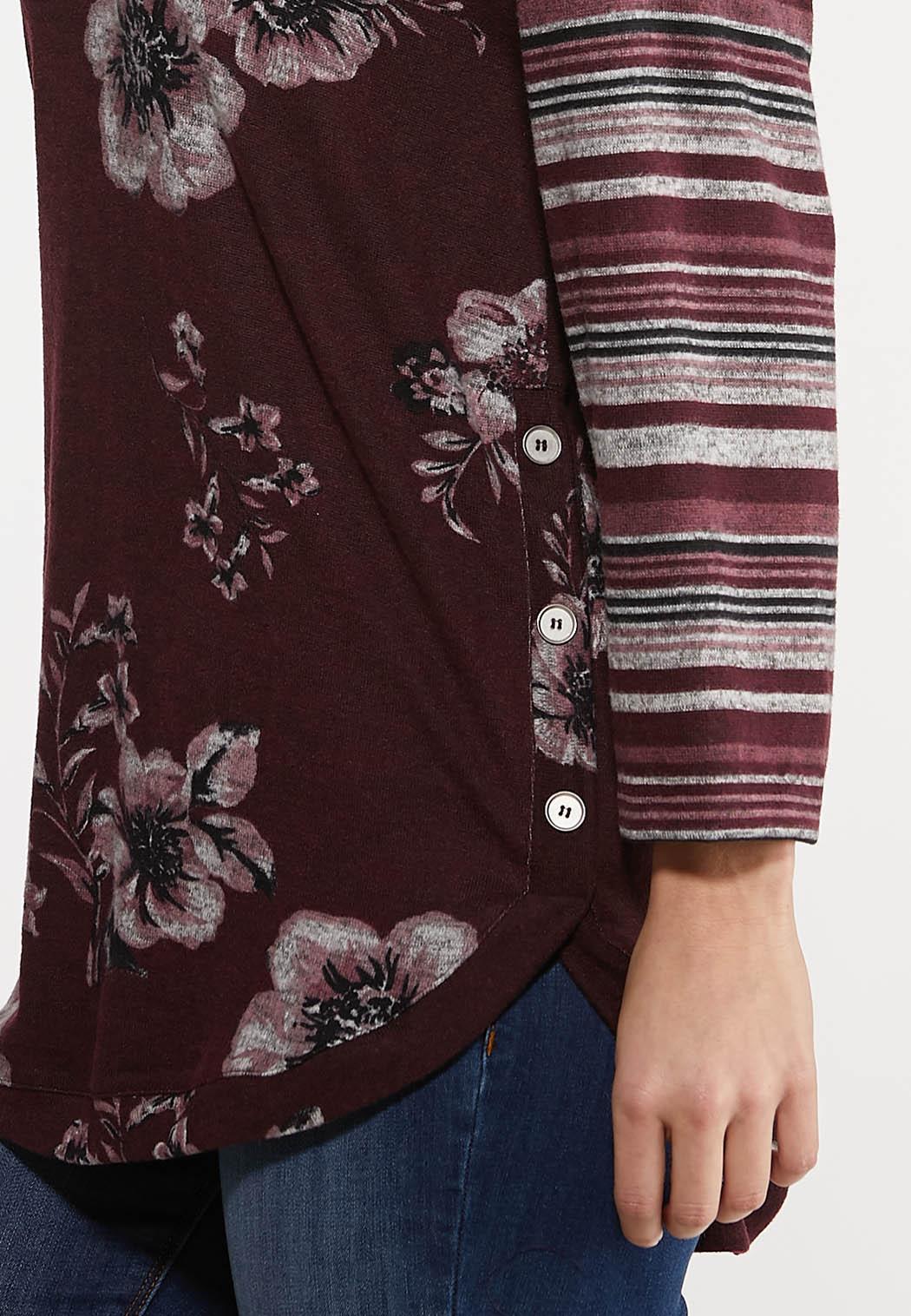 Plus Size Foral Stripe Hacci Top (Item #44128730)