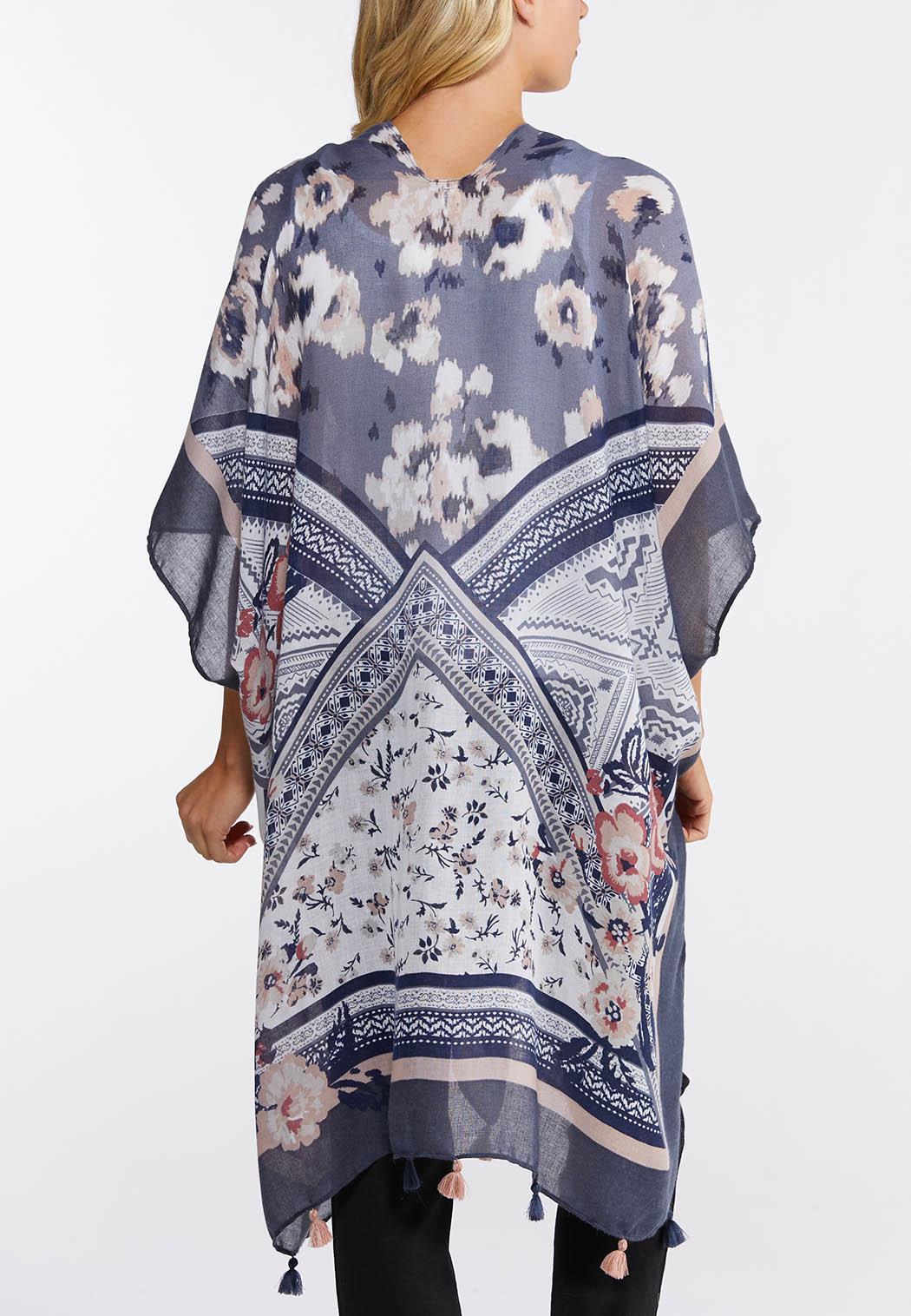 Tribal Floral Tasseled Kimono (Item #44129762)