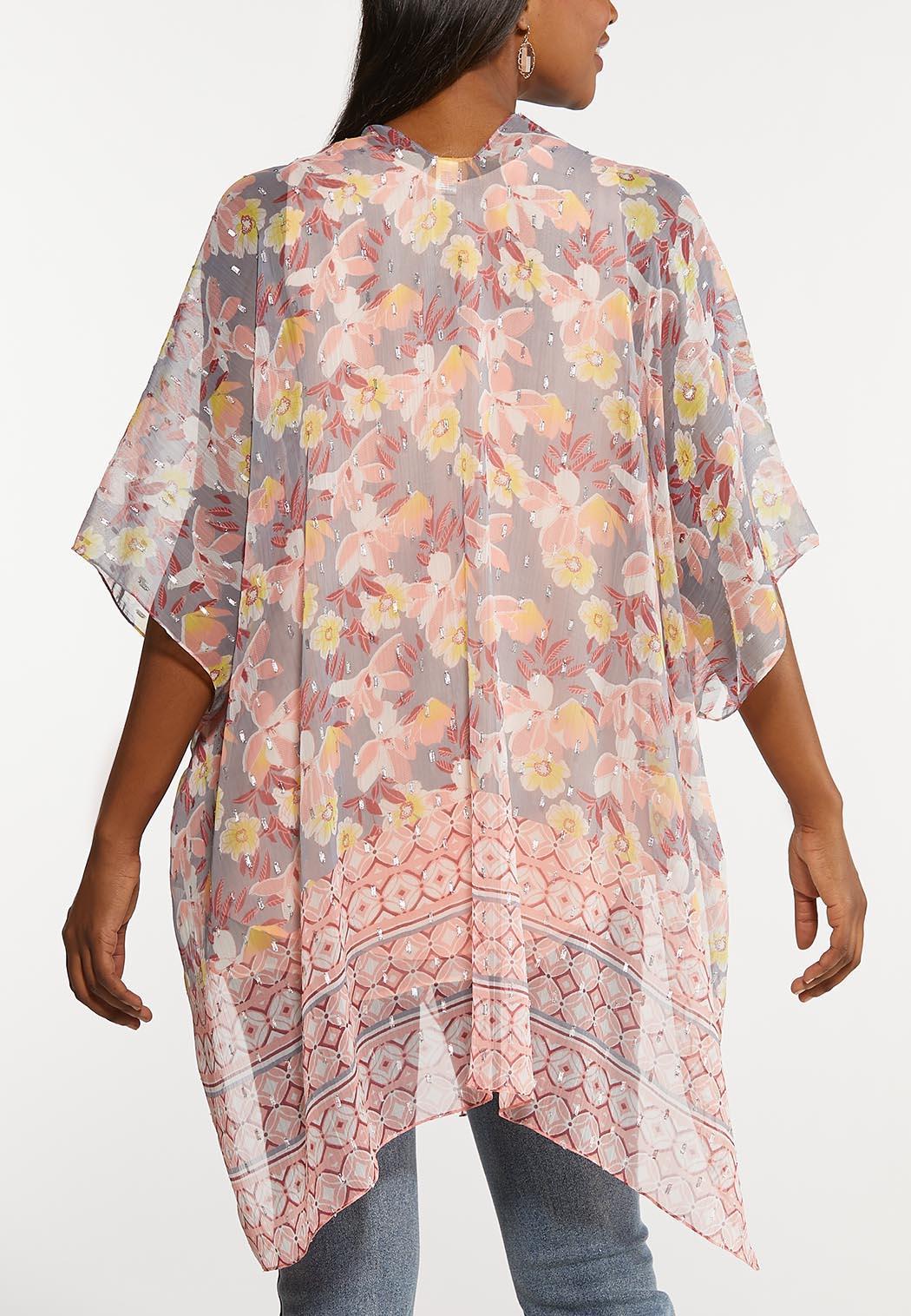 Floral Metallic Border Kimono (Item #44129769)