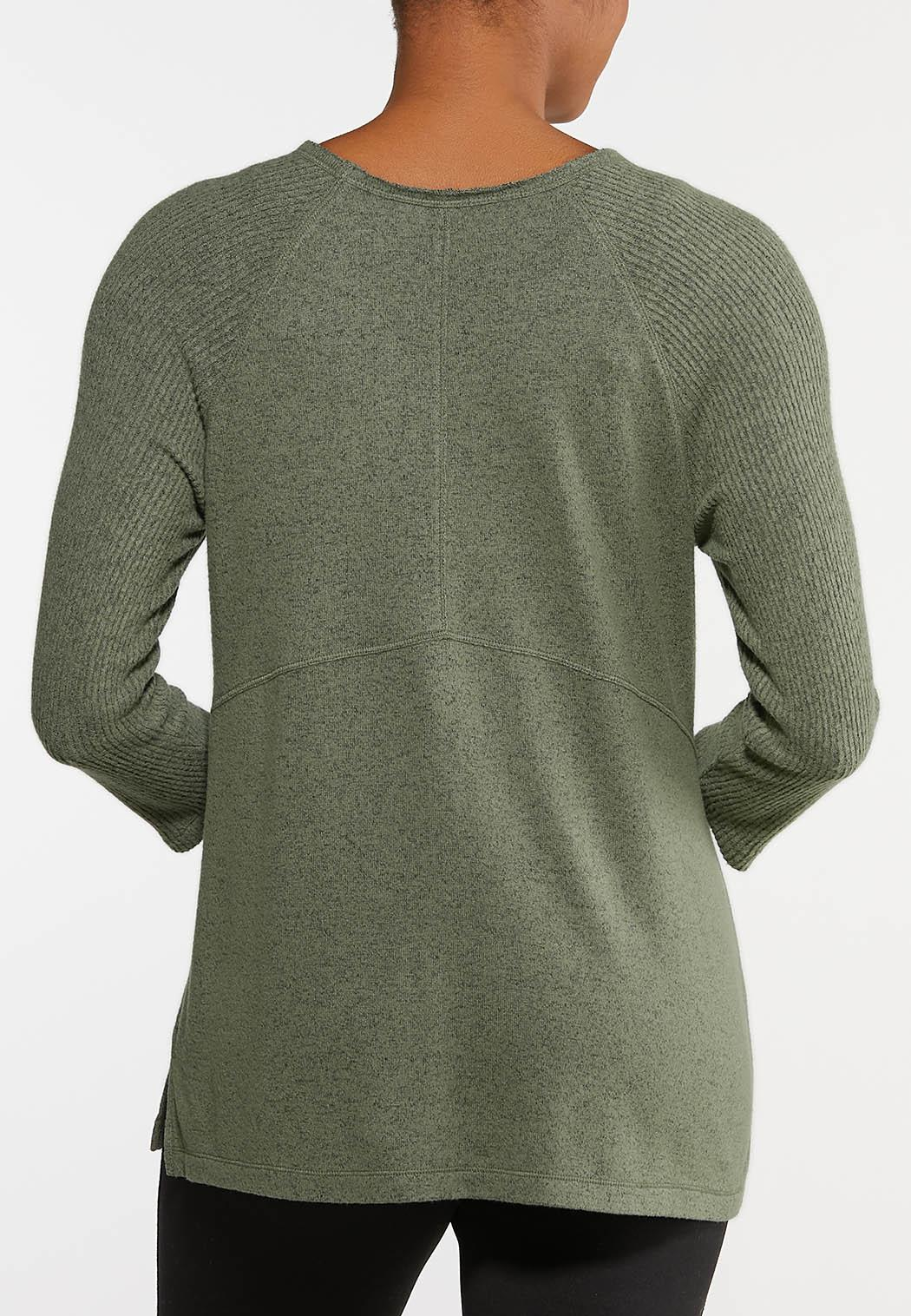 Plus Size Brushed Green Sweater (Item #44130494)