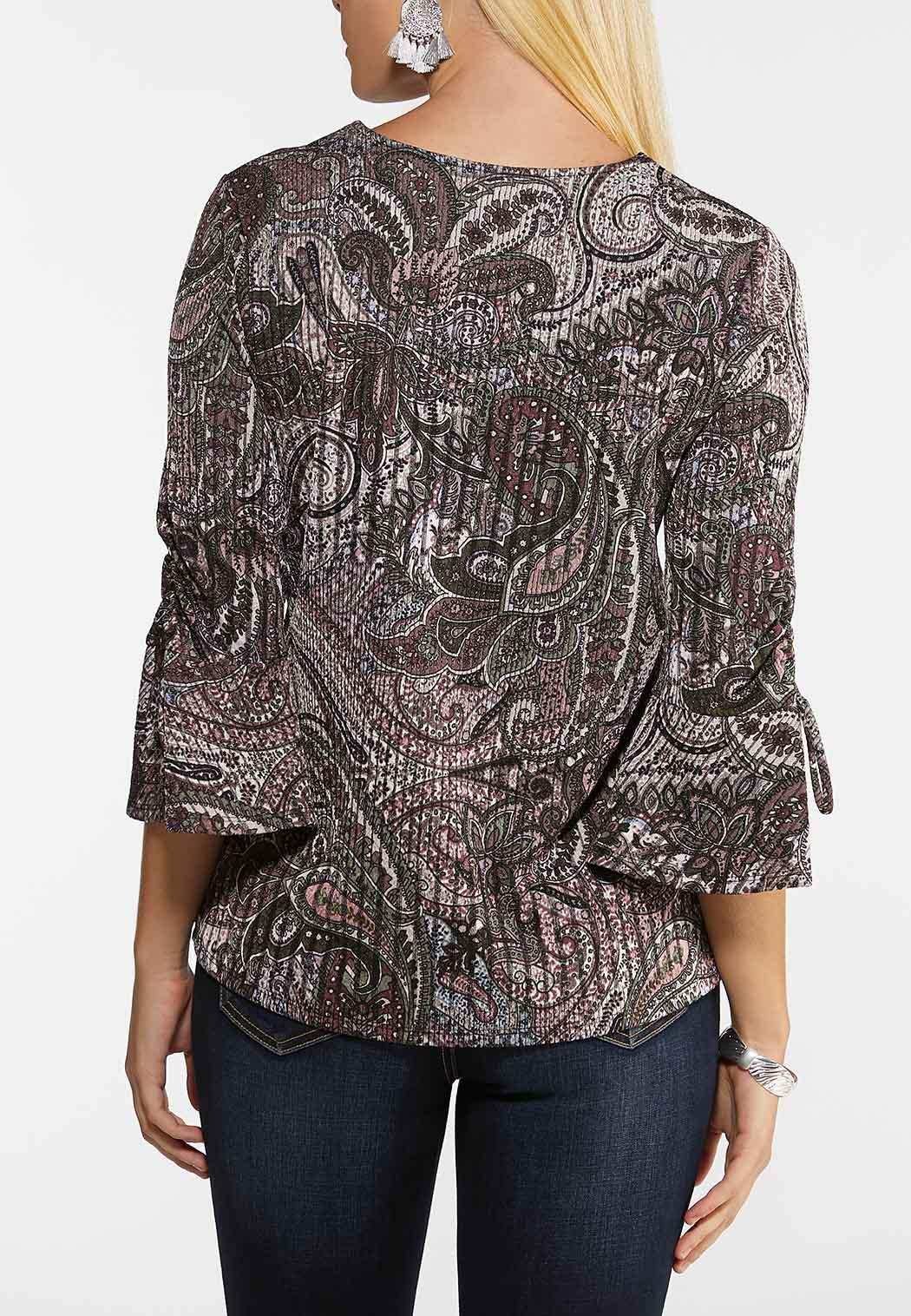 Plus Size Paisley Bell Sleeve Top (Item #44132445)