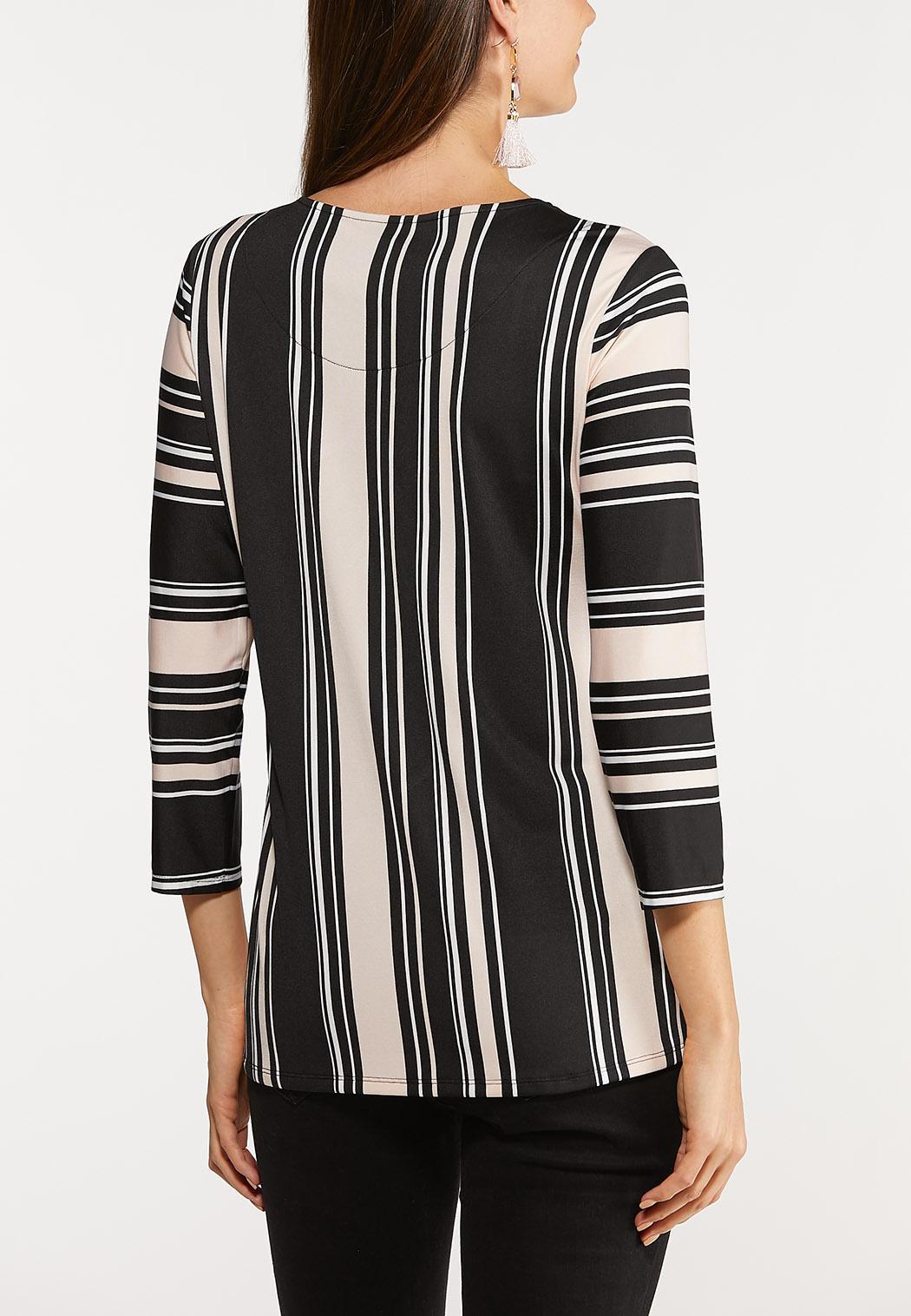 Asymmetrical Hem Stripe Top (Item #44132669)