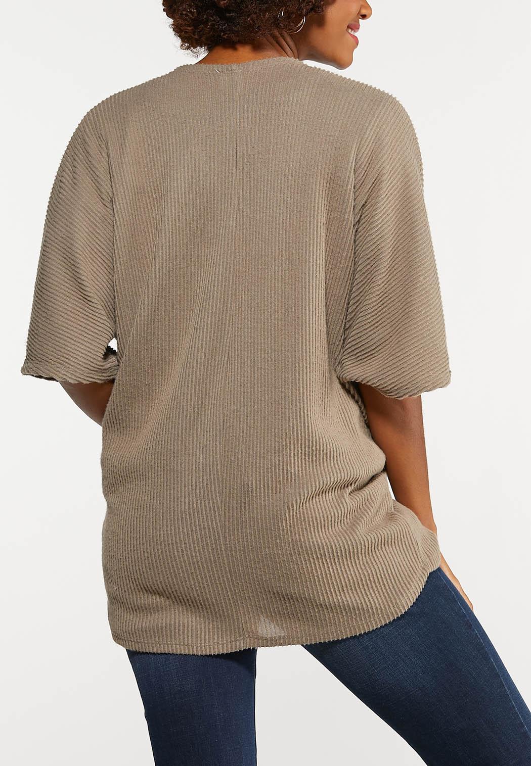 Plus Size Solid Ribbed Cardigan (Item #44132672)