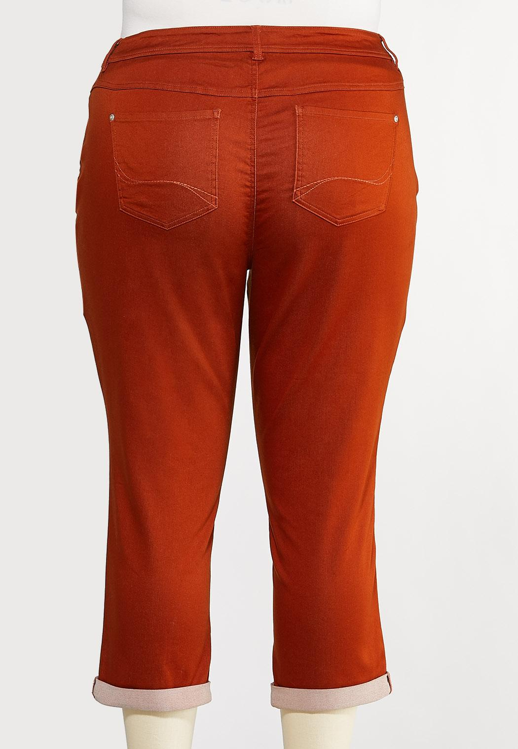 Plus Size Color Cropped Skinny Jeans (Item #44133229)